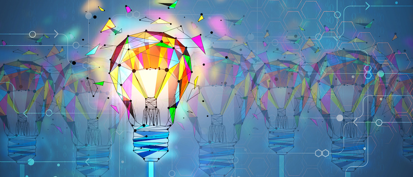 Abstract creative polygonal colorful light bulb background.